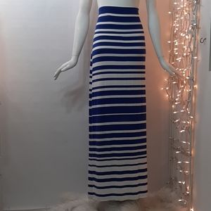 XL ATHLETA Seaside Blue White Striped Maxi Skirt